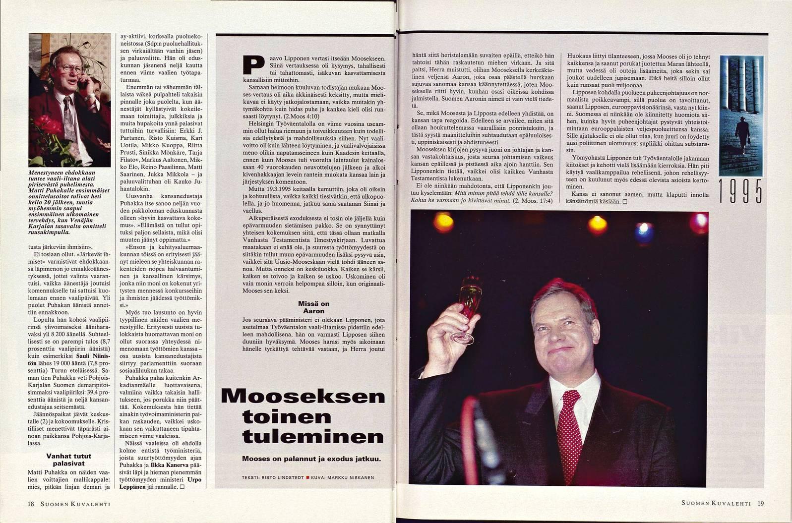 """SK 12/1995 (24.3.1995) Risto Lindstedt: """"Mooseksen toinen tuleminen"""". Kuva: Markku Niskanen."""