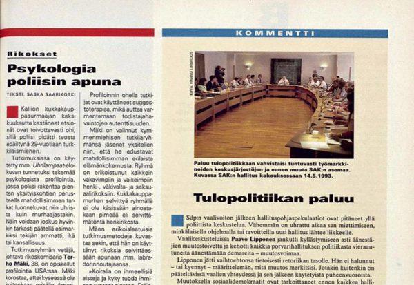 "SK 13/1995 (31.3.1995) Saska Saarikoski: ""Psykologia poliisin apuna""."