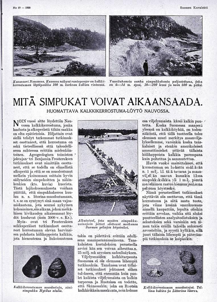"""SK 10/1920 (6.3.1920) """"Mitä simpukat voivat aikaansaada""""."""