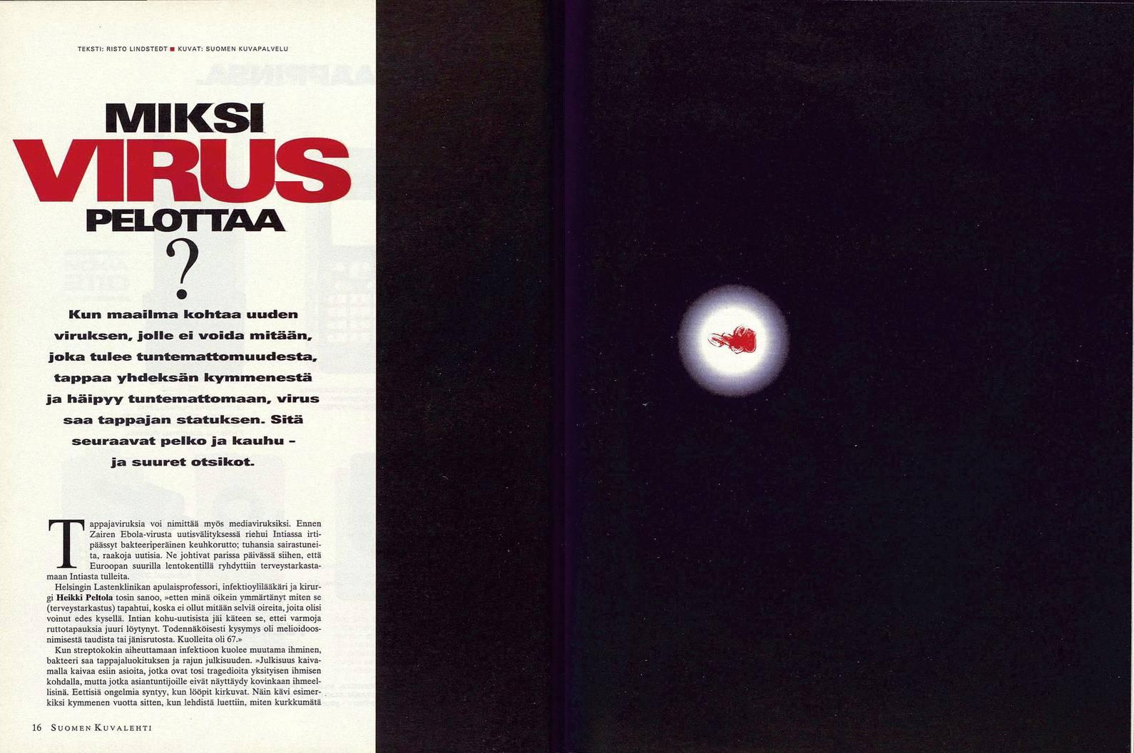 """SK 21/1995 (26.5.1995) Risto Lindstedt: """"Miksi virus pelottaa?"""""""