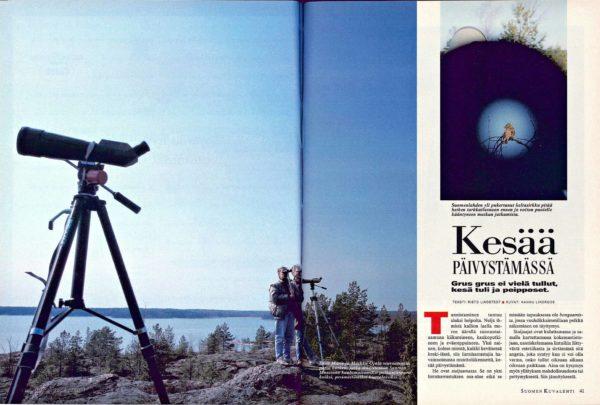 """SK 18/1995 (5.5.1995) Risto Lindstedt: """"Kesää päivystämässä"""". Kuvat: Hannu Lindroos."""