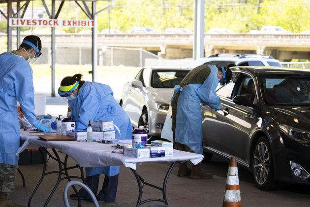 Koronavirus-testauspaikka Tennesseen osavaltion Springfieldissä 18. huhtikuuta.