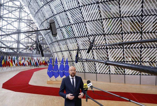 Eurooppa-neuvoston puheenjohtaja Charles Michel EU:n ylimääräisessä huippukokouksessa Brysselissä 20. helmikuuta. EU-johtajat eivät löytäneet sopua unionin pitkän aikavälin budjetista.