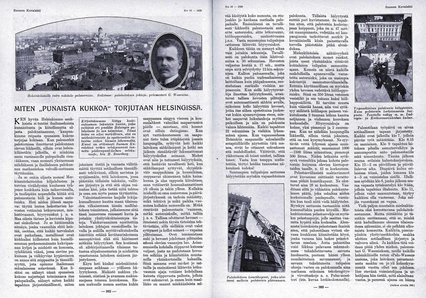 """SK 16/1920 (17.4.1920) Yrjö Ylänne: """"Miten 'punaista kukkoa' torjutaan Helsingissä."""""""