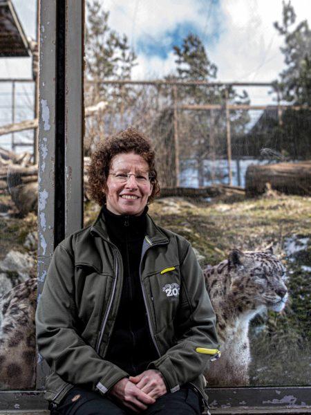 Korkeasaaren johtaja Sanna Hellström ja lumileopardi Erkhet. Korkeasaari on tukenut jo pitkään luonnon lumileopardien suojelutyötä.