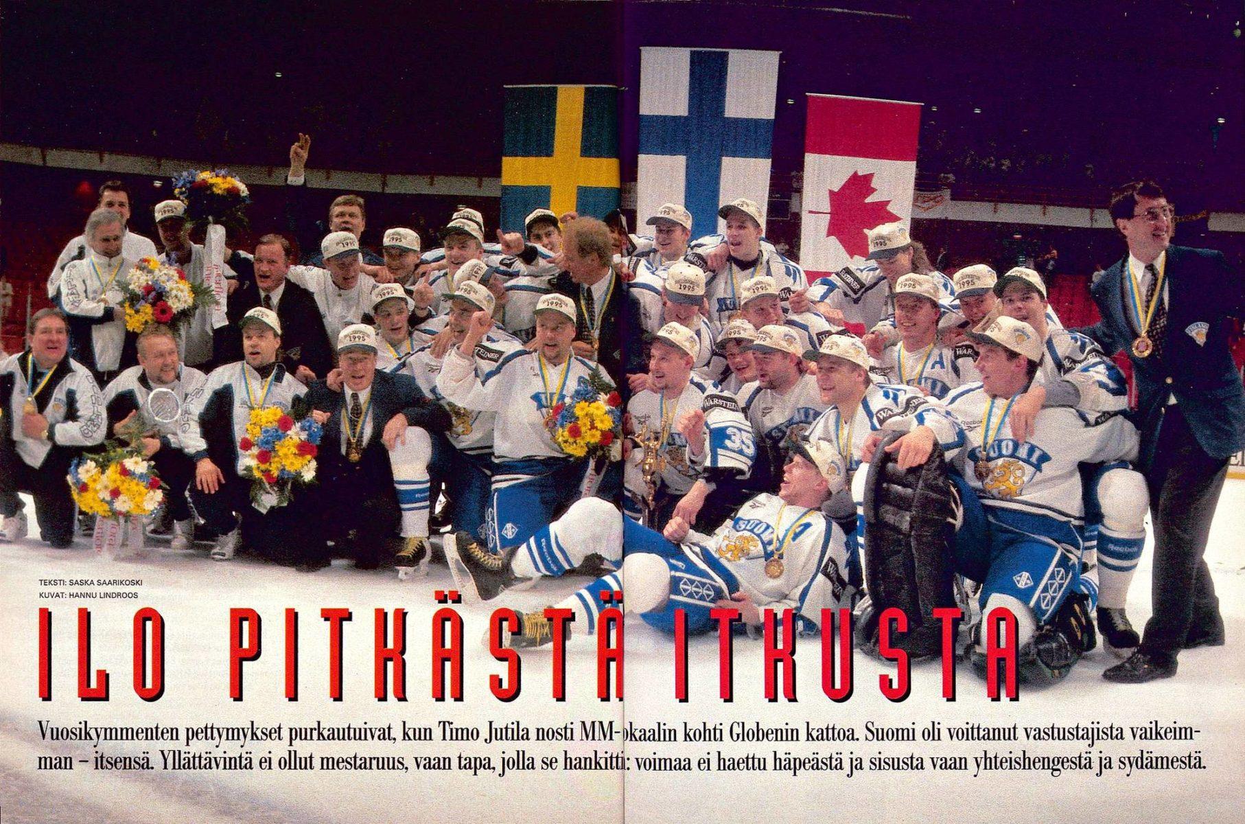 """SK 19/1995 (12.5.1995) Saska Saarikoski: """"Ilo pitkästä itkusta."""" Kuva: Hannu Lindroos."""