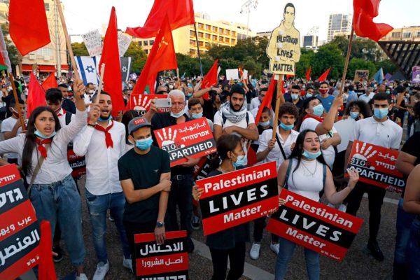 Palestiinalaisten hengellä on väliä! Mielenosoittajat vastustivat 6. kesäkuuta Tel Avivissa Israelin aikeita liittää miehittämiään palestiinalaisalueita juutalaisvaltioon.