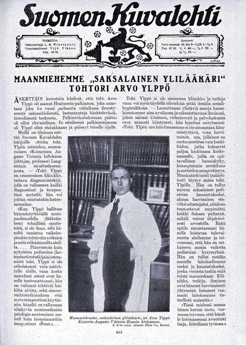 """SK 21/1920 (22.5.1920): """"Maanmiehemme, 'saksalainen ylilääkäri', tohtori Arvo Ylppö""""."""