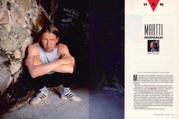 """SK 24/1995 (16.6.1995) Tuula- Liina Varis: """"Hän: Martti Suosalo, näyttelijä"""". Kuvat: Petri Kaipiainen."""