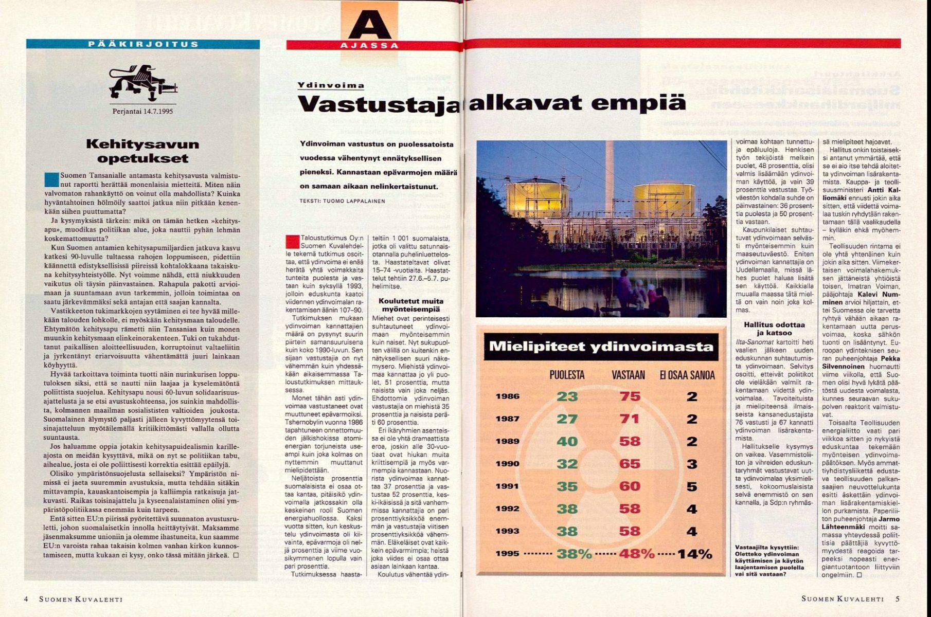 """SK 28/1995 (14.7.1995) Tuomo Lappalainen: """"Vastustajat alkavat empiä""""."""