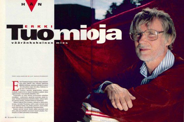 """SK 29/1995 (21.7.1995) Saska Saarikoski: """"Hän, Erkki Tuomioja, vääränkokoinen mies""""."""