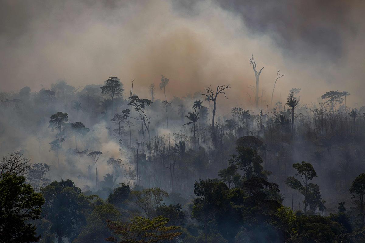 Kesällä 2019 Amazonin sademetsän palot ylittivät kansainvälisen uutiskynnyksen. Palavaa metsää kuvattiin Paran osavaltiossa Brasilisassa elokuussa 2019.