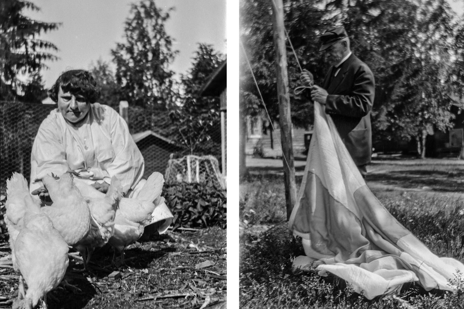 Ellen Svinhufvud vastasi puutarhasta, ryytimaasta, lampaista ja kanoista. Pehr Evind vastasi itsenäisesti lipusta ja kyläläisten lakiavusta.