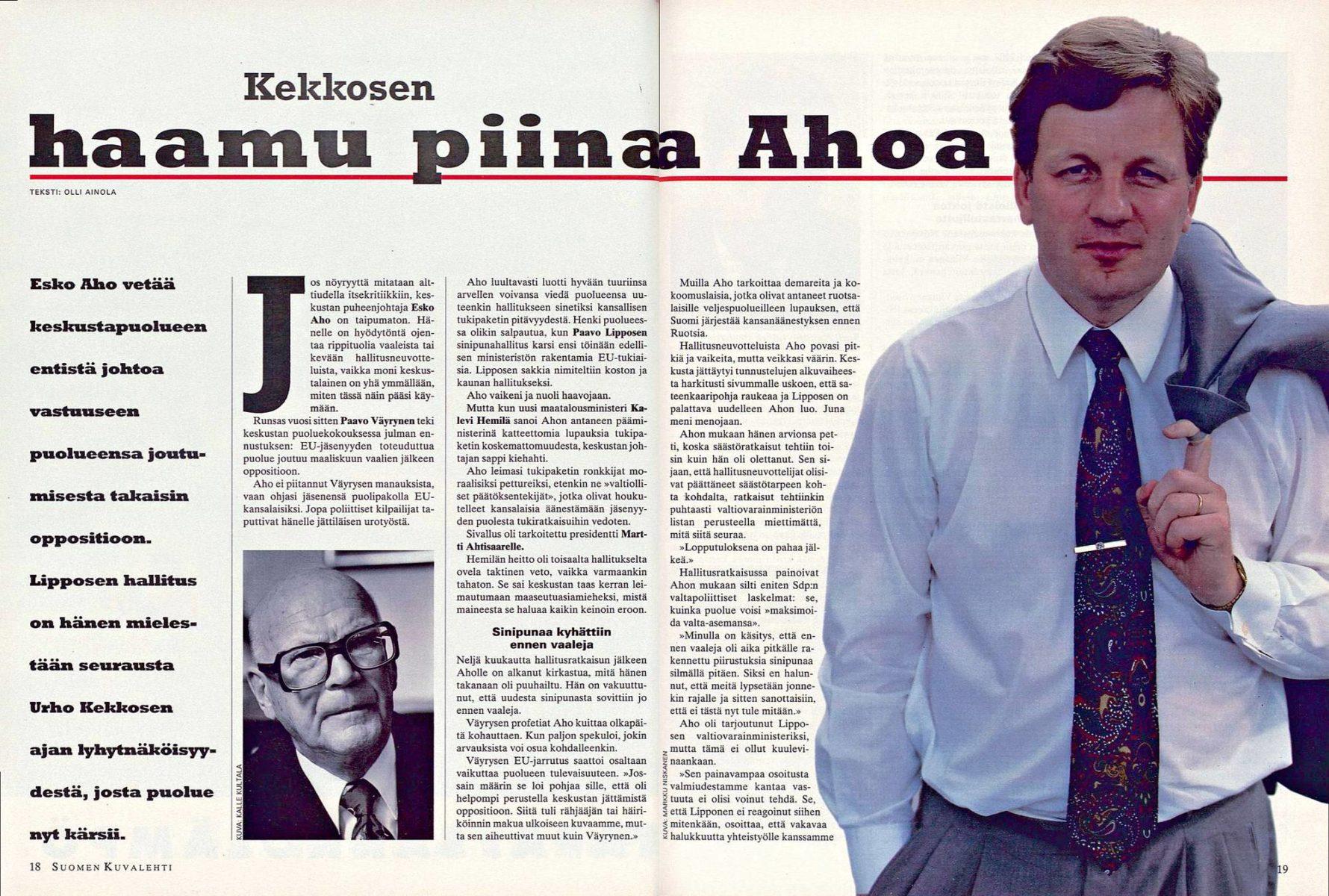 """SK 35/1995 (1.9.1995) Olli Ainola: """"Kekkosen haamu piinaa Ahoa""""."""