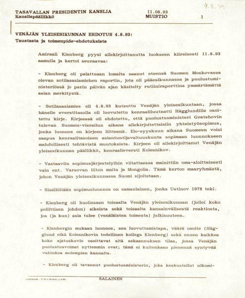 Tiedot Venäjän yleisesikunnan ehdotuksesta kirjattiin salaiseksi luokiteltuun muistioon.