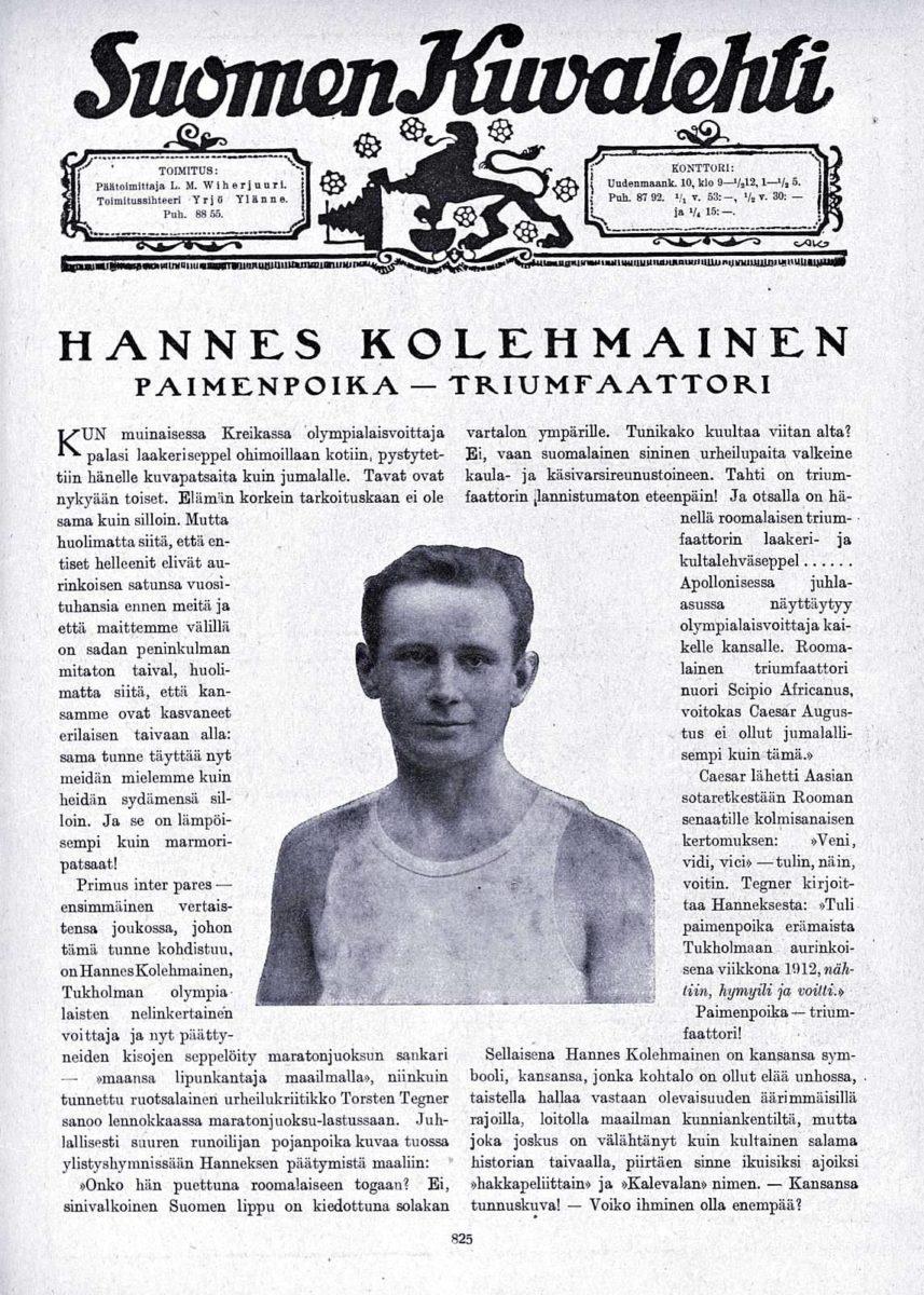 """SK 35/1920 (4.9.1920): """"Hannes Kolehmainen, paimenpoika–triumfaattori"""""""