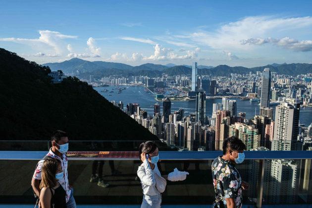 Näkymä Hongkongin kaupunkiin. Kuvituskuva.