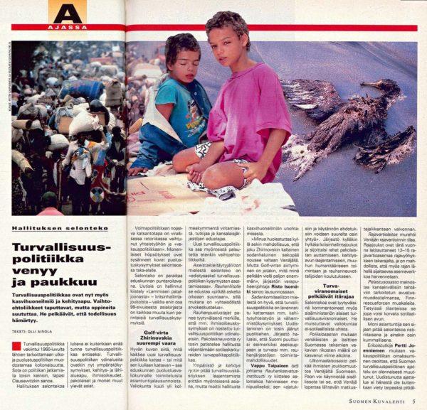 """SK 40/1995 (6.10.1995) Olli Ainola: """"Turvallisuuspolitiikka venyy ja paukkuu""""."""