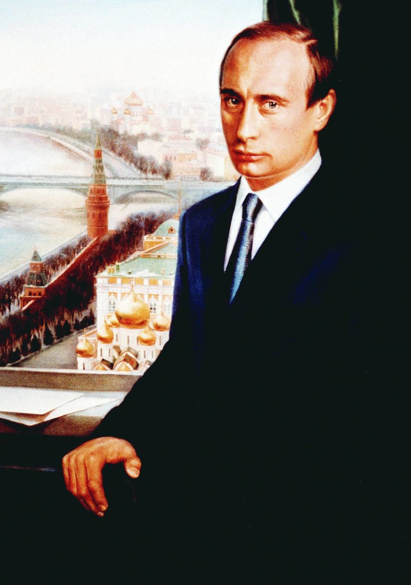 Ensimmäinen virallinen muotokuva presidentti Vladimir Putinista vuonna 2000.