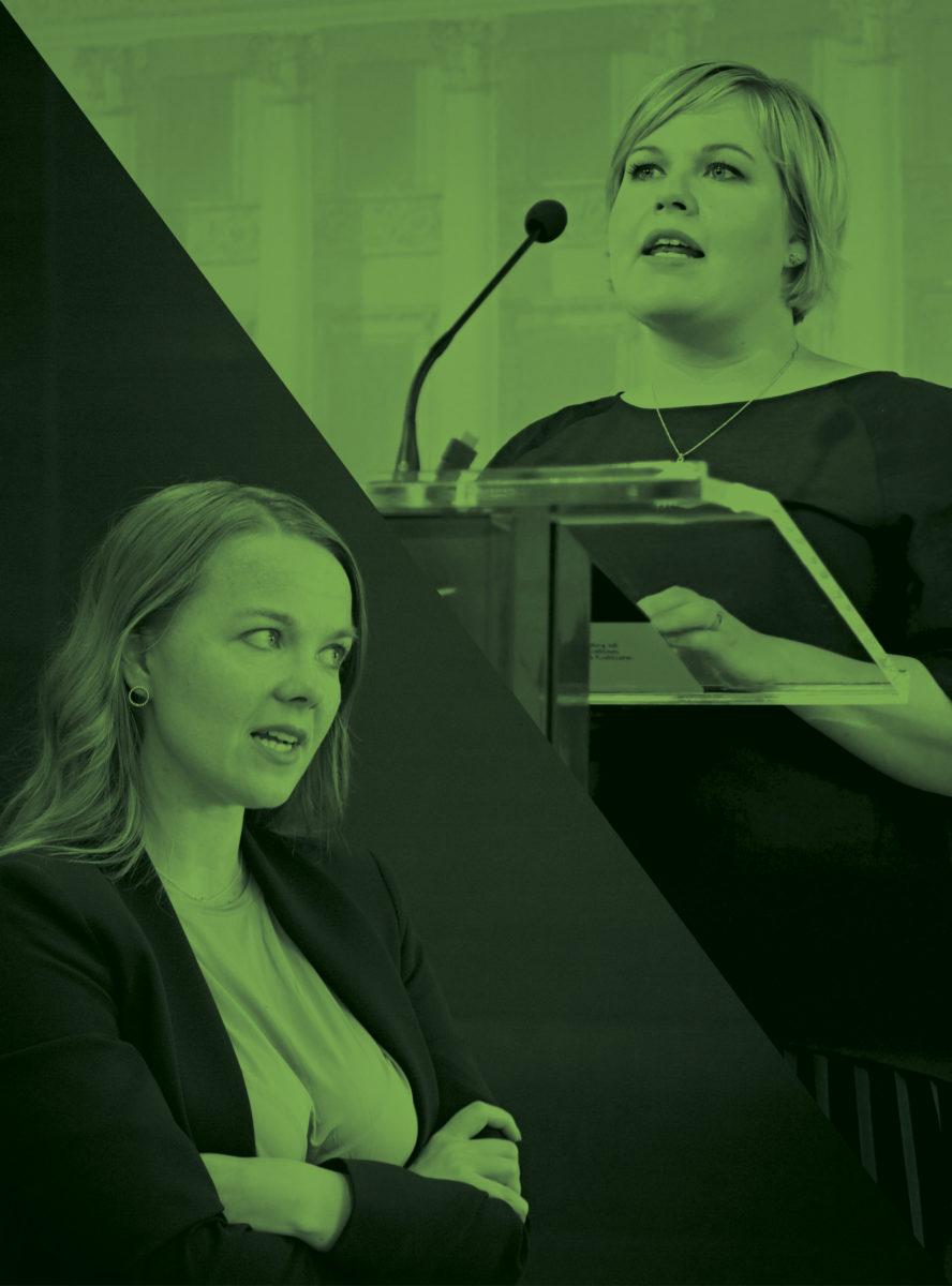 """Katri Kulmuni on hallituksen """"maanvaiva"""" ja ylpeä siitä. Annika Saarikko korostaa olevansa sopuisa."""