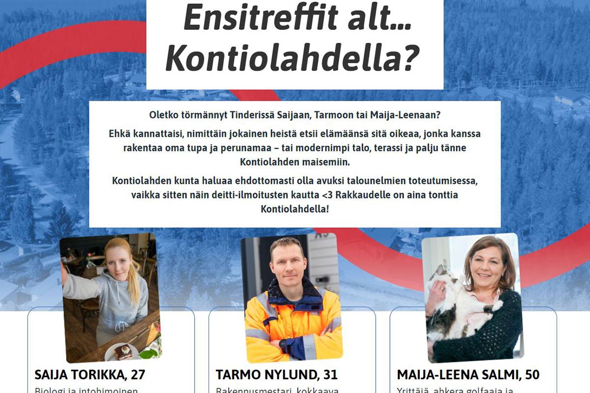 Näin Kontiolahti esittelee Tonttitinder-kampanjaansa.
