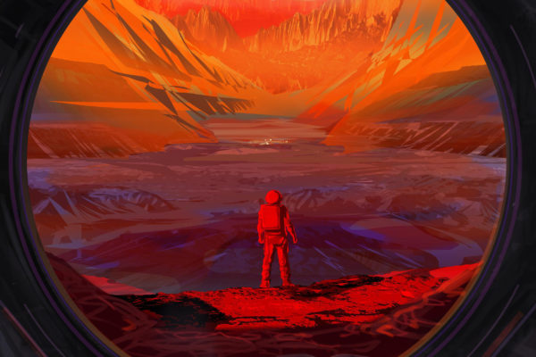 Taiteilijan näkemys avaruuslentäjästä Marsin pinnalla.