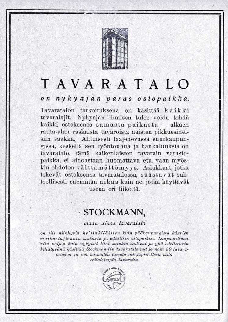 """SK 34/1920 (28.8.1920): """"Tavaratalo"""" (mainos)"""