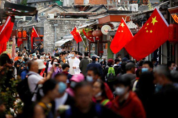 Kiinalaisia kotimaanmatkailijoita Pekingissä 2. lokakuuta.