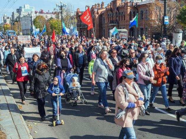 Mielenosoitus Venäjän Habarovskissa 10. lokakuuta.