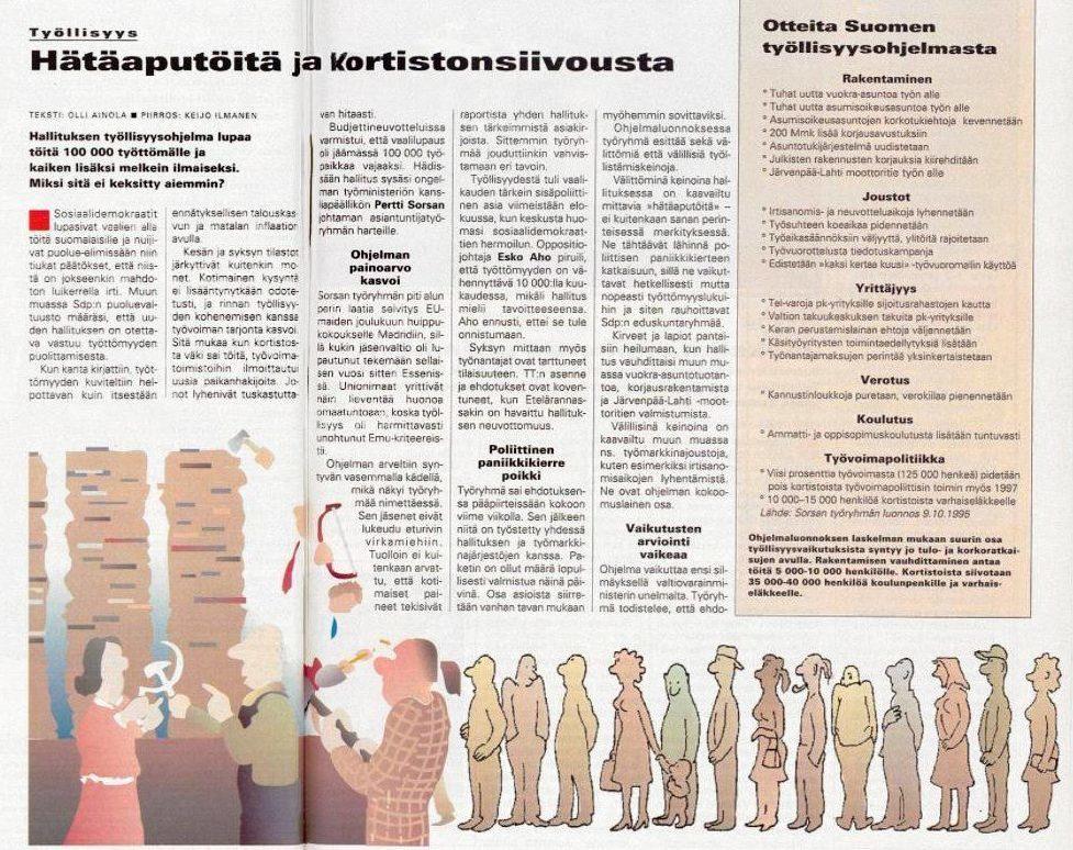 """SK 42/1995 (20.10.1995) Olli Ainola: """"Hätäaputöitä ja kortistonsiivousta"""". Piirros: Keijo Ilmanen."""