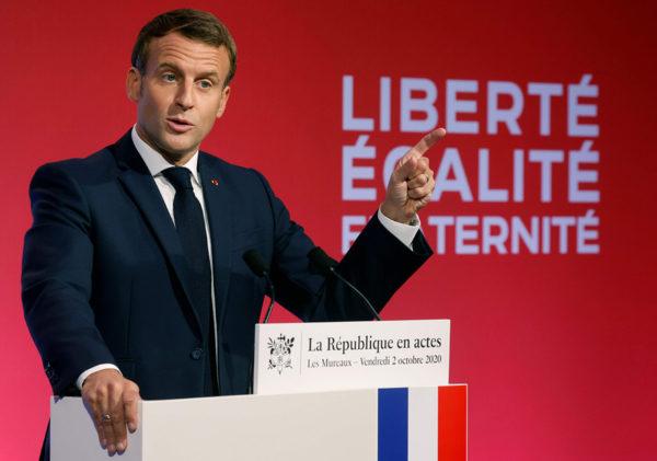 Ranskan presidentti Emmanuel Macron piti puheen 2. lokakuuta.