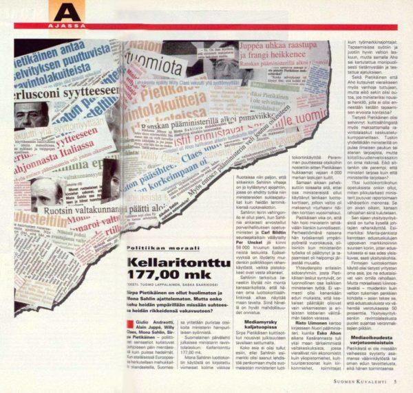 """SK 43/1995 (27.10.1995) Tuomo Lappalainen ja Saska Saarikoski: """"Kellaritonttu 177,00 mk""""."""