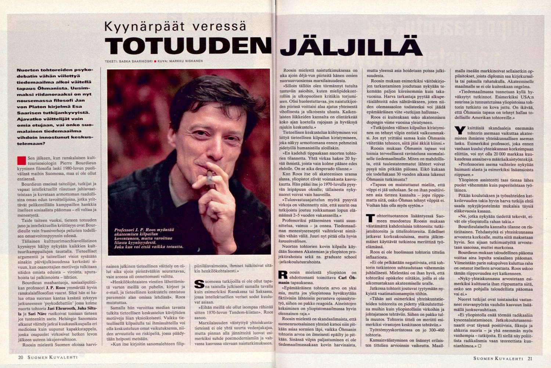 """SK 41/1995 (13.10.1995) Saska Saarikoski: """"Kyynärpäät veressä totuuden jäljillä""""."""