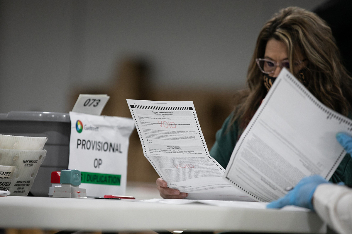 Ääniä laskettiin Gwinnettin piirikunnassa Georgiassa perjantaina 6. marraskuuta.