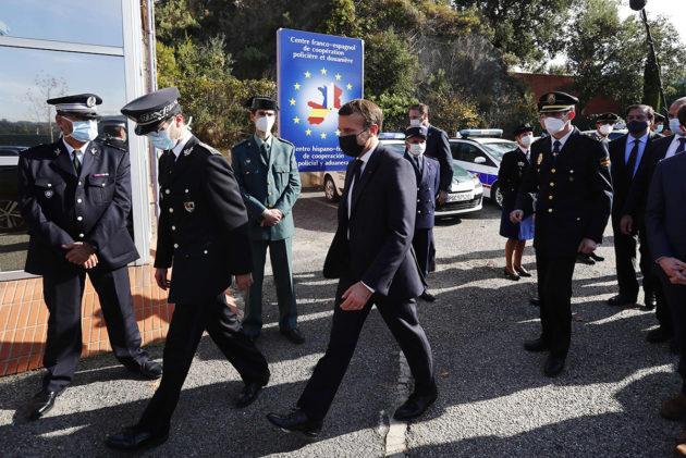 Ranskan presidentti Emmanuel Macron vieraili Ranskan ja Espanjan välisellä rajalla 5. marraskuuta.
