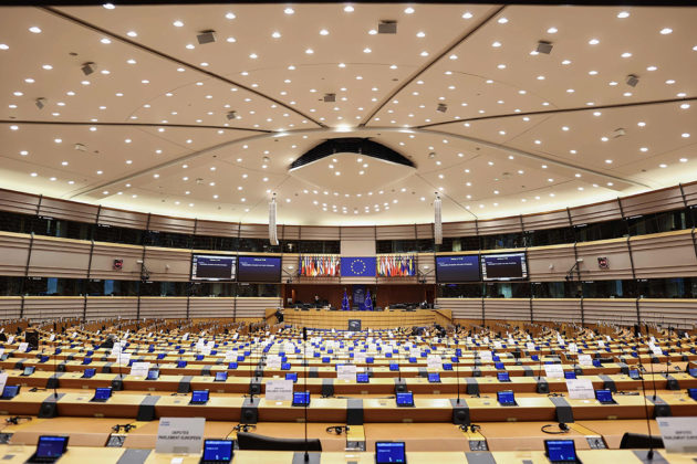 Euroopan parlamentin istuntosali.