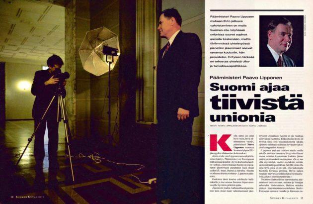 """SK 1/1996 (5.1.1996) Tuomo Lappalainen: """"Pääministeri Paavo Lipponen: Suomi ajaa tiivistä unionia"""". Kuvat: Hannu Lindroos ja Markku Niskanen."""