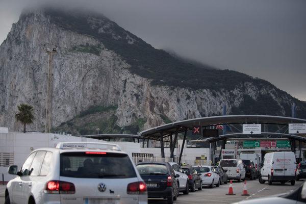 Gibraltarin ja Espanjan välinen raja joulukuussa 2020.