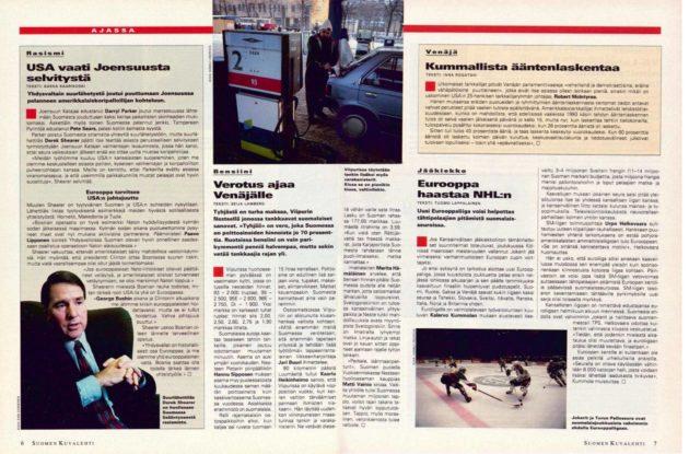 """SK 2/1996 (12.1.1996) Saska Saarikoski: """"USA vaatii Joensuusta selvitystä""""."""