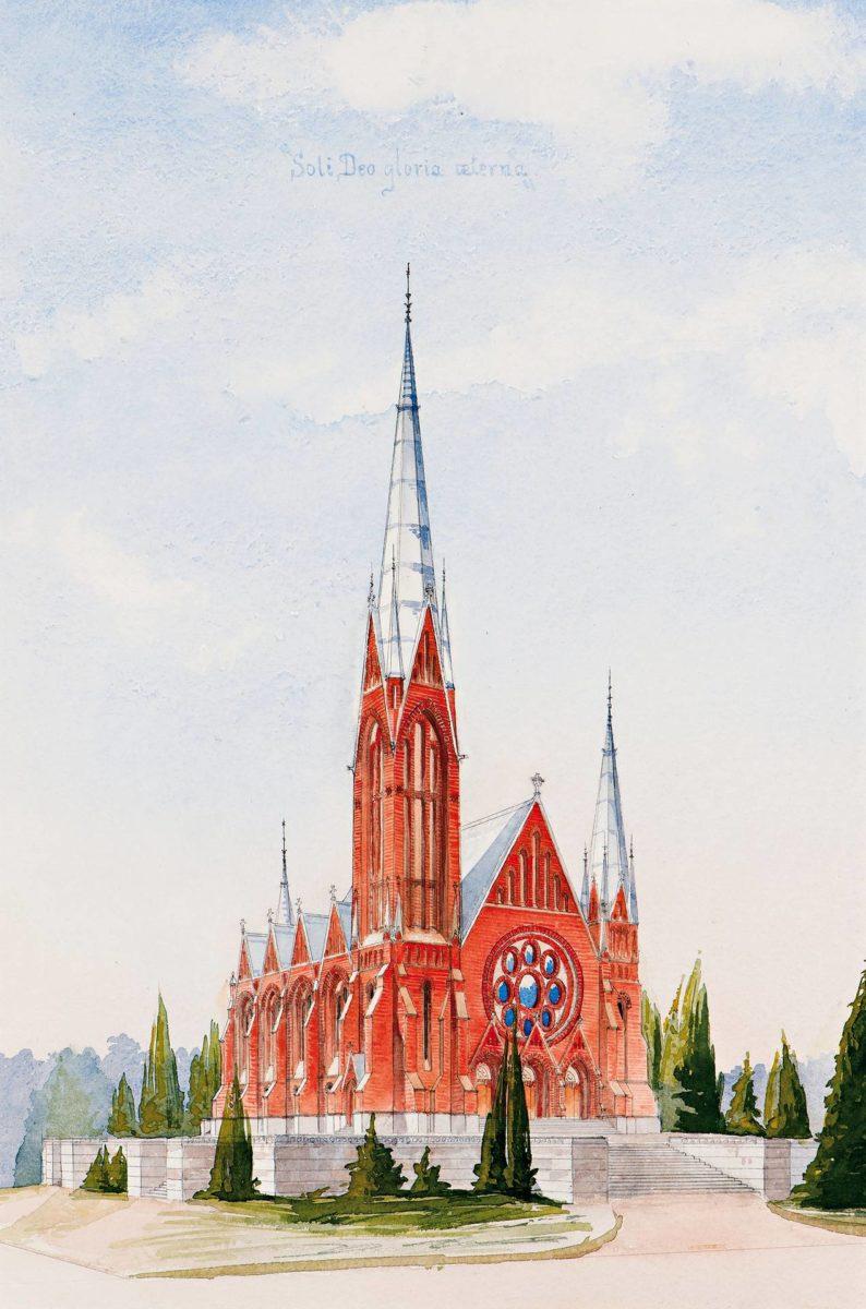 Lars Sonckin ehdotus Soli Deo gloria aeterna (Yksin Jumalalle ikuinen kunnia) voitti Mikaelin-kirkon suunnittelukilpailun 1894.