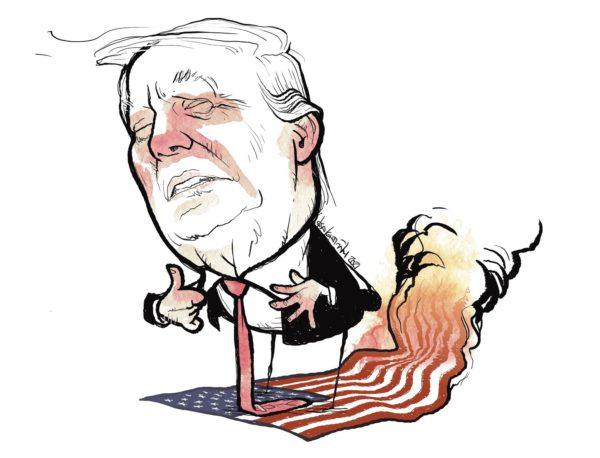 Trump. America flames.
