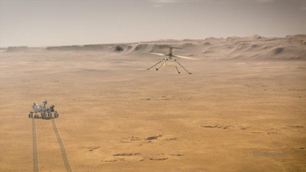 Taiteilijan näkemys Nasan Perseverance-luotaimesta ja Ingenuity-helikopterilennokista Marsin pinnalla.