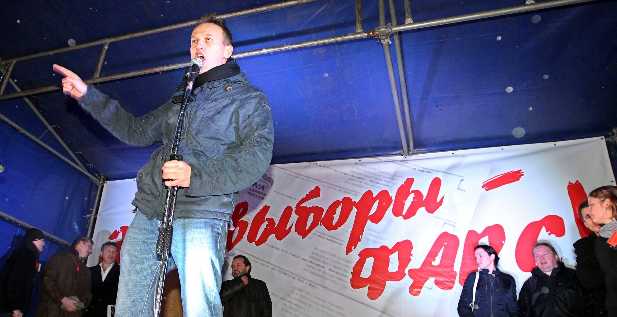 Aleksei Navalnyi puhui parlamenttivaalien virallista tulosta vastustaneessa mielenosoituksessa Moskovassa 5. joulukuuta 2011.