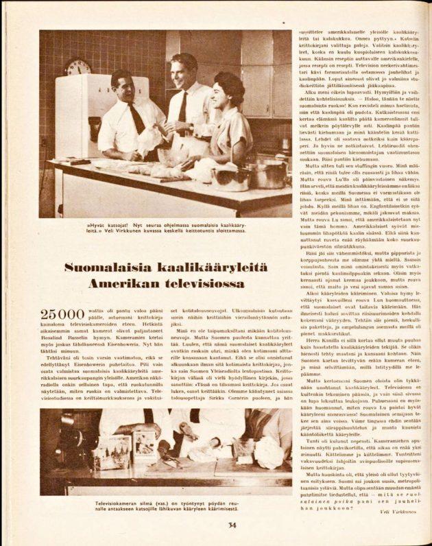 """SK 5/1956 (4.2.1956) Veli Virkkunen: """"Suomalaisia kaalikääryleitä Amerikan televisiossa""""."""