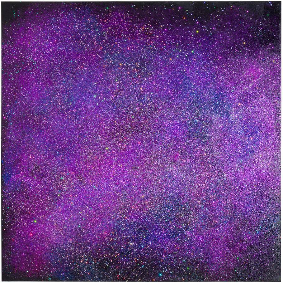 Marianna Uutisen I Hear You -näyttelyssä nähdään kosmisia akryylimaalauksia.