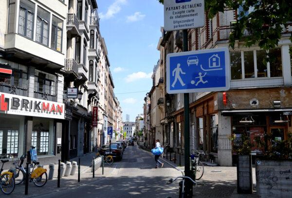 Katunäkymä Brysselissä. Kuvituskuva.