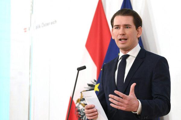 Itävallan liittokansleri Sebastian Kurz antoi lausuntoa maan koronatilanteesta Wienissä maaliskuussa 2021.