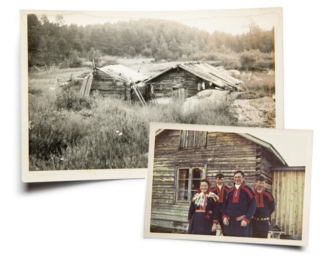 Ylempi kuva: Saksalaiset jättivät sota-aikana polttamatta Kaapin-Matista vain kaksi aittaa. Alempi kuva: Elli, Olli, Mikko ja Esko Aikio perhekuvassa 1960-luvulla. Olli on Leo Aikion isä.