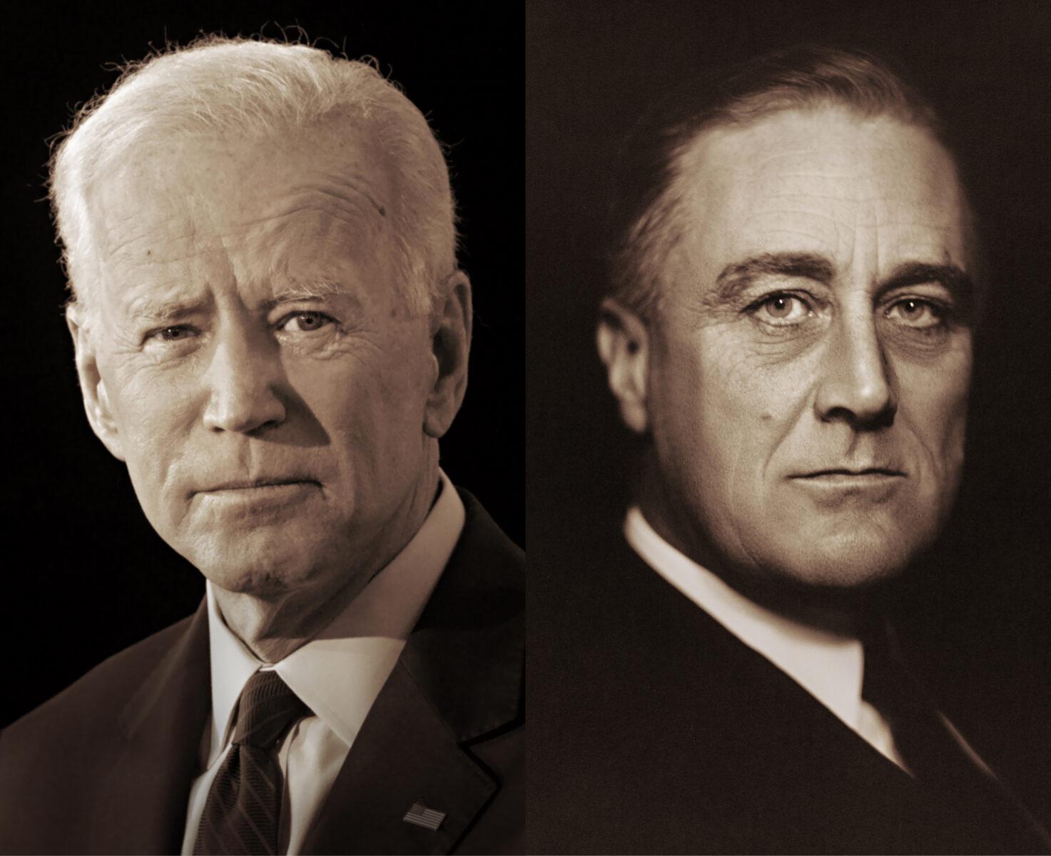 Yhdysvaltain 46. presidentti Joe Biden ja Yhdysvaltain 32. presidentti Franklin D. Roosevelt.