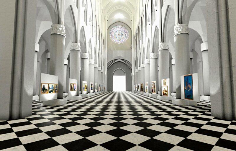Virtuaalisessa todellisuudessa näyttelytilana voi toimia esimerkiksi Notre-Damen katedraali Pariisissa. Seinillä on Notre-Damea esitteleviä maalauksia eri ajoilta.